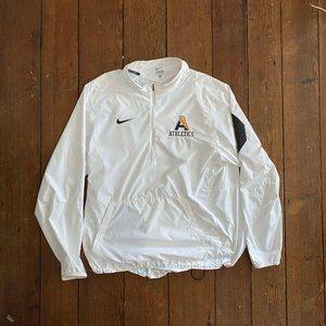 NIKE Mens White Half Zip Windbreaker Jacket Long